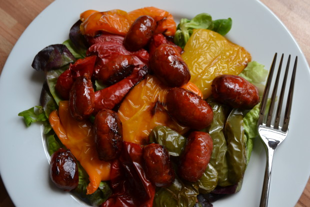 Chorizo and roasted pepper salad