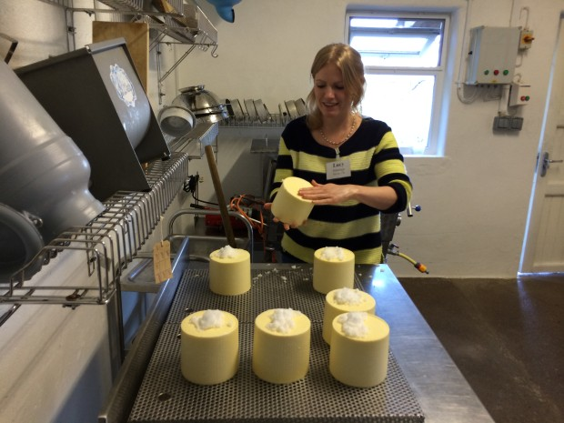 Lucy making cheese