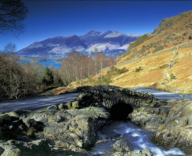 Looking over Ashness Bridge to Derwent Water and Skiddaw