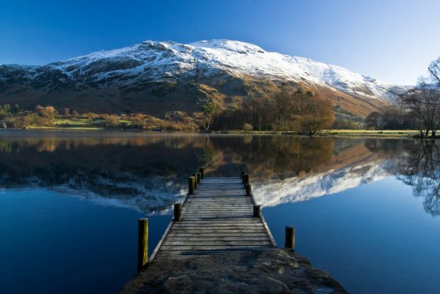 Place Fell from St Patricks Bay, Ullswater. Winter snow reflection