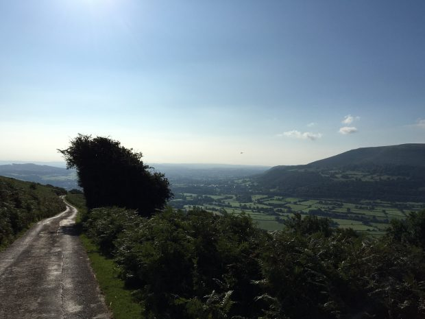 Looking down towards Abergavenny from the Black Mountains
