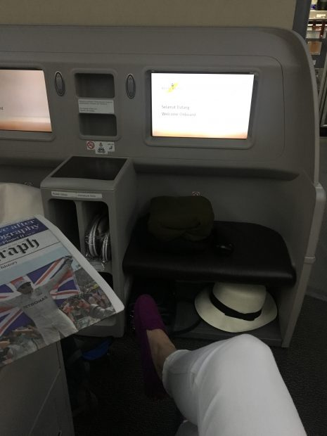 More than enough legroom and storage in Royal Brunei's Business Class